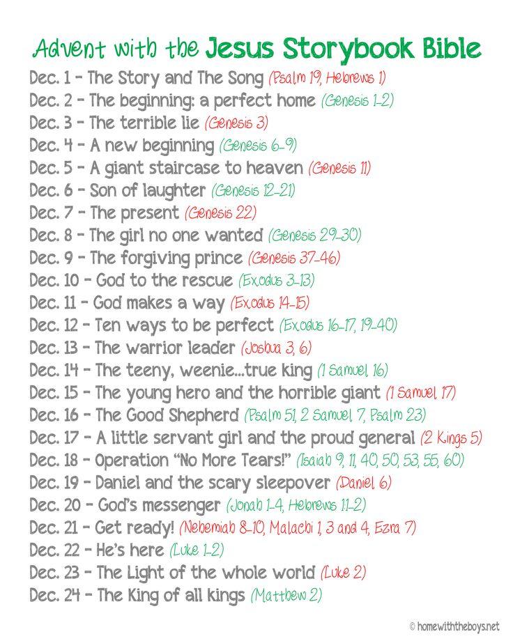 Jesus Storybook Bible Advent Reading Plan {Free Printable}