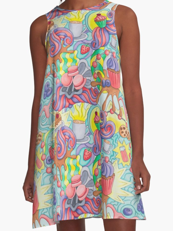 """Sweet doodle. Berries cupcakes and funny swirls. "" A-Line Dresses by Maria-So 