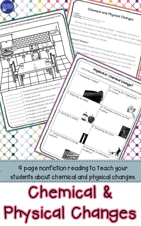 Use this nine-page nonfiction packet to introduce physical and chemical changes to your students. This activity gives background information on the two types of changes, as well as examples of both, it asks students to identify changes in a kitchen, reviews definitions while giving tons of examples and has students identify and describe why certain scenarios are physical or chemical changes. This is a great packet to introduce or review this challenging topic.