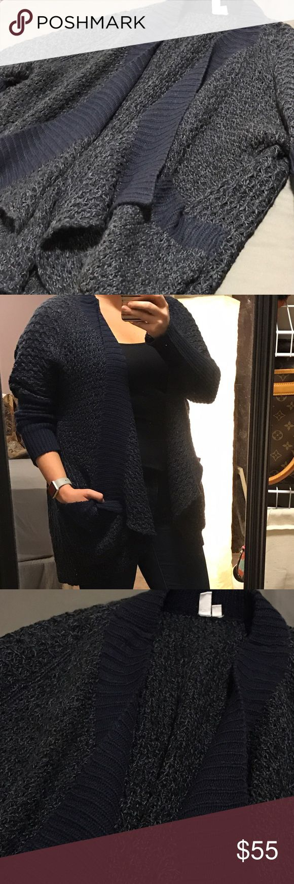 MTLA chunky knit sweater MTLA chunky knit sweater • navy blue with a lighter blue • soooo cozy! • from Stitch Fix! Price is firm on this one because it's so nice! Make a fantastic coat for cold weather! Sweaters Shrugs & Ponchos