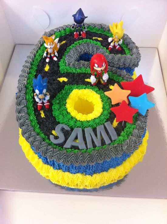 Sonic the Hedgehog Cake Decorating Ideas - easy to follow and make this lovely cake in the shape of the number 6. My son loved it!