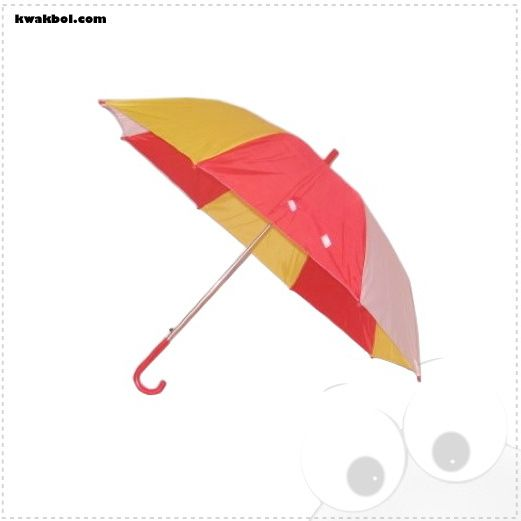 "Paraplu rood, wit, geel.Te koop bij Kwakbol.com. De Oeteldonkse wepsjop ""veur en deur ammaol Oeteldonkers"" Officieel verkooppunt van de Oeteldonkse club van 1882. Groot aanbod, broches, sjaals, pins, kleding, decoratie, cd's, boeken, kikkers, emblemen enz enz., www.kwakbol.com"