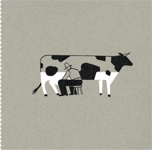 Pablo Amargo: Visual poetry. via nfgraphics #Illustration #Milking_Cow #Pablo_Amargo