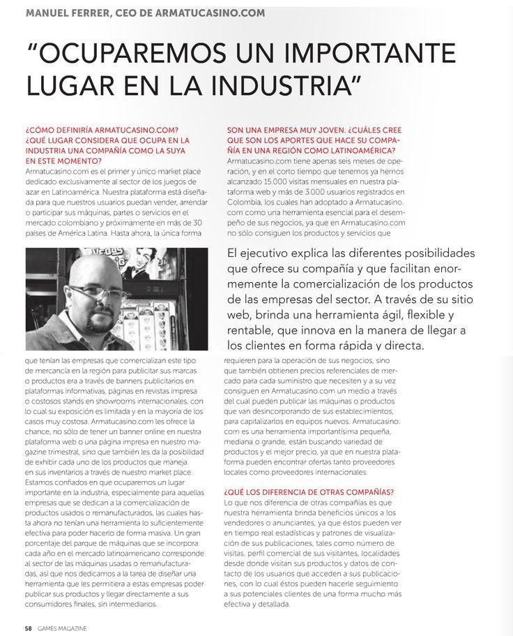Entrevista realizada a nuestro CEO Manuel Ferrer por @gamesmagazine  http://gamesmagazine.biz/publicacion/games-magazine/145