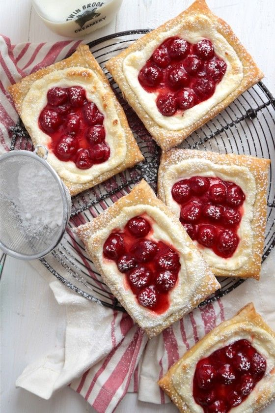 Oh man. I'd make these every day if I could. So delicious. Should probably make double batches from now on so we have some for later, because they disappear quickly! Quick and Easy Cherry Cream Cheese Danishes