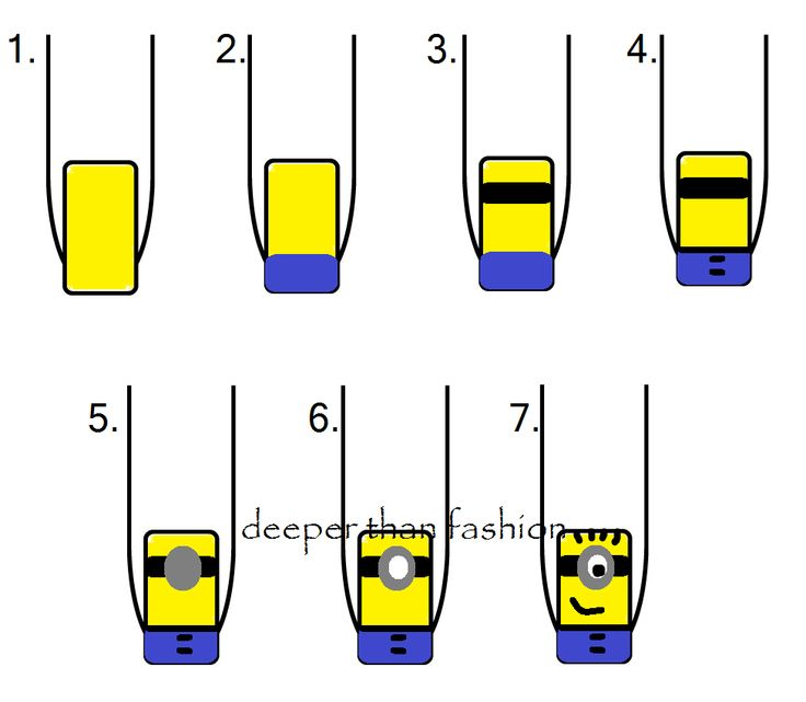 step by step minions nail art