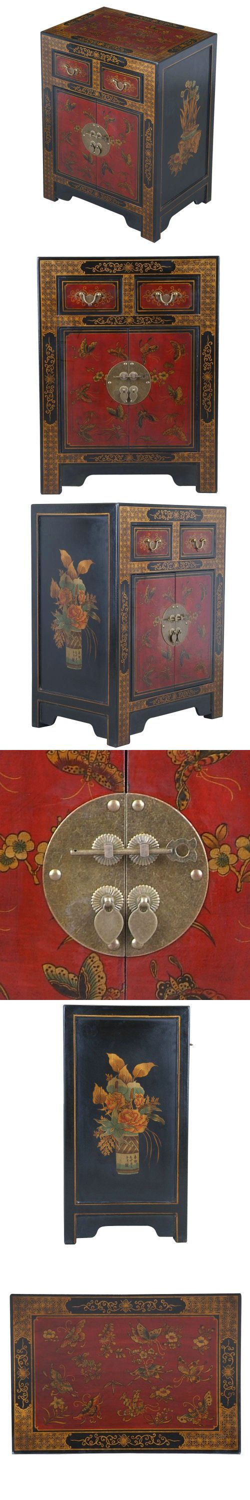 oriental inspired furniture. EXP Handmade Oriental Furniture 27-Inch Antique Style Black Leather End Table With Nature Motifs, A Delectably Detailed Home Accent Piece, This Inspired