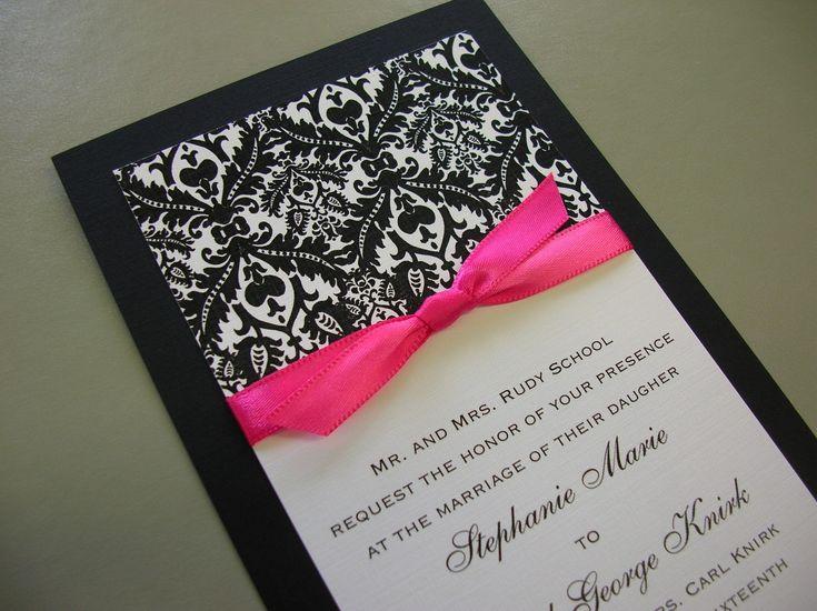 Royal Damask Black White And Hot Pink Invitations