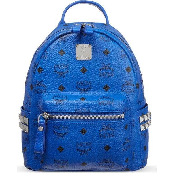 MCM Mini stud backpack ($575) ❤ liked on Polyvore featuring bags, backpacks, blue, leather knapsack, studded backpack, miniature backpack, shoulder strap backpack and mini leather backpack