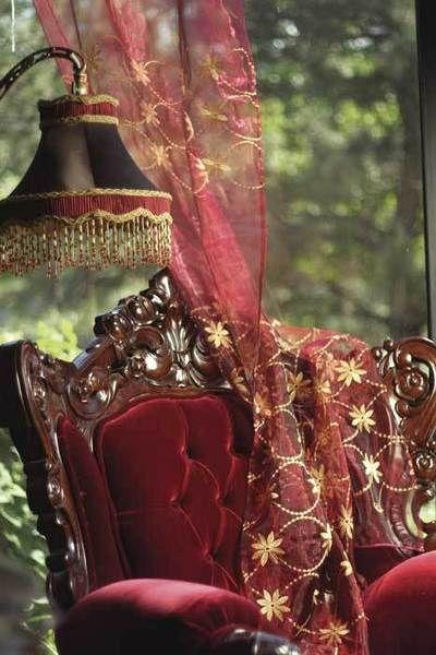 Red VelvetLamps, Decor, Sheer Curtains, Red Velvet, Victorian, Ana Rosa, Red Room, Antiques Chairs, Burgundy