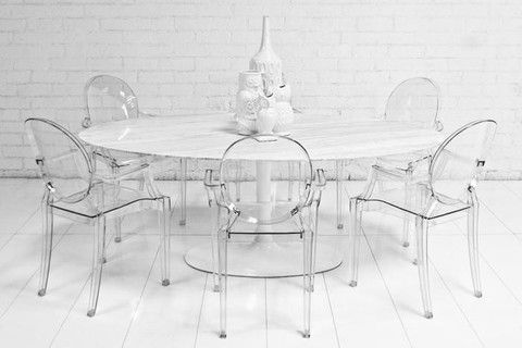 "Oval Imported Marble Tulip Dining Table | ModShop 68 or 78"" $1995"