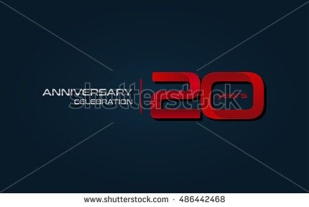 20        years anniversary celebration logo, red, isolated on dark blue background