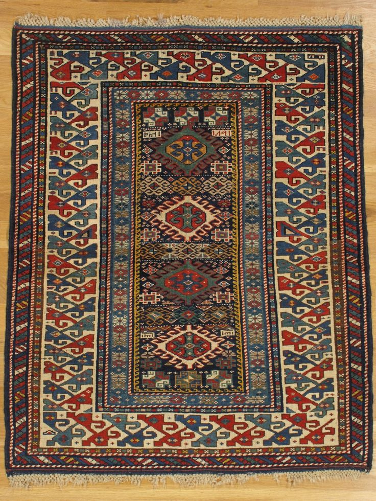 Dated And Square Kuba Rug From Eastern Caucasus Age 1873 Size Cm Condition Very Good