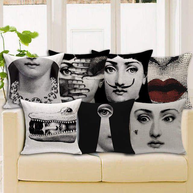 Pillow Case Vintage Piero Fornasetti Cotton Linen Cushion Cover Art Master Decor