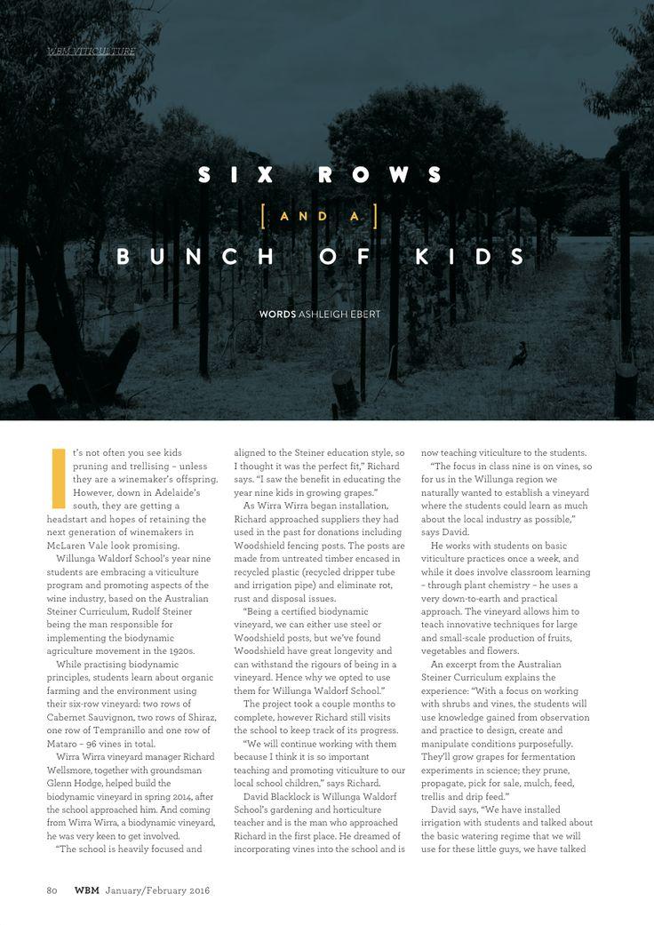 WBM Magazine January/February 2016 edition - viticulture article.