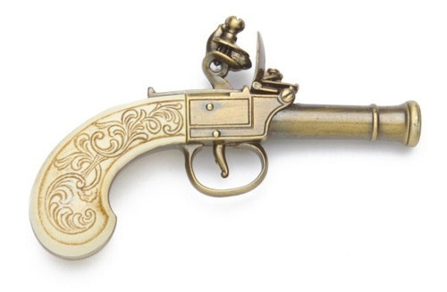 LADIES' POCKET FLINTLOCK PISTOL GOLD FINISH NON FIRING REPLCIA GUN