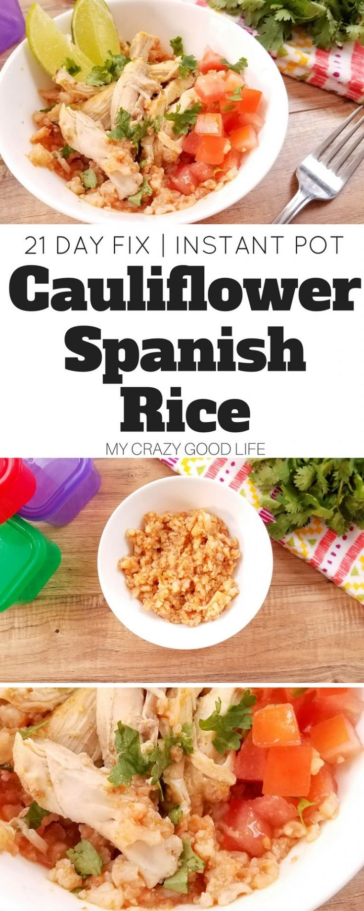 Craving Spanish Rice but need the recipe to be easy? This Instant Pot Spanish Rice is made with cauliflower *and* is 21 Day Fix friendly! It's the best of both worlds! Cauliflower Spanish Rice   21 Day Fix Spanish Rice   Instant Pot Spanish Rice