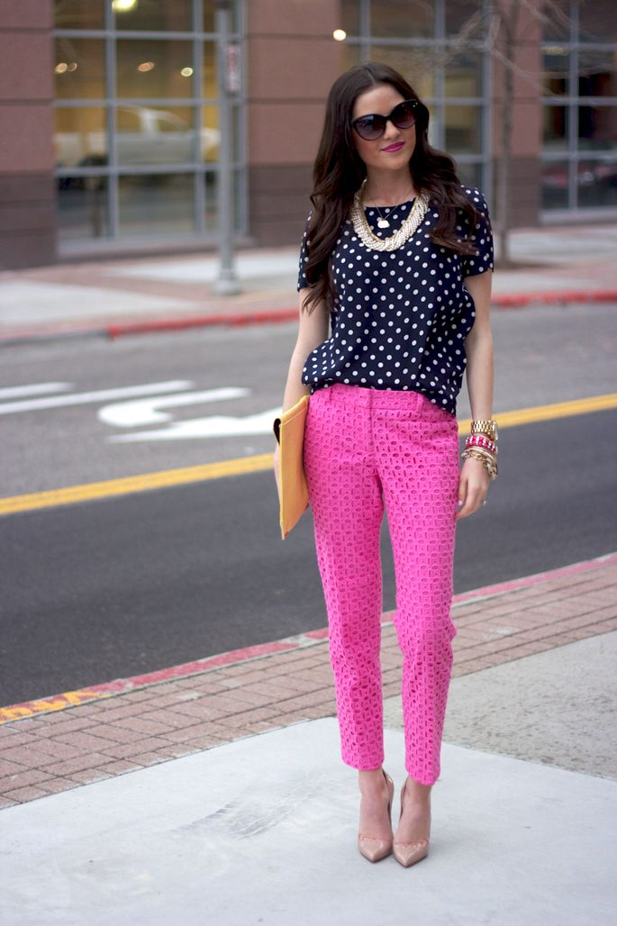 pink eyelet pants, polka dot, necklace, shoes, envelope purse. so technically diggin' the whole outfit :-D