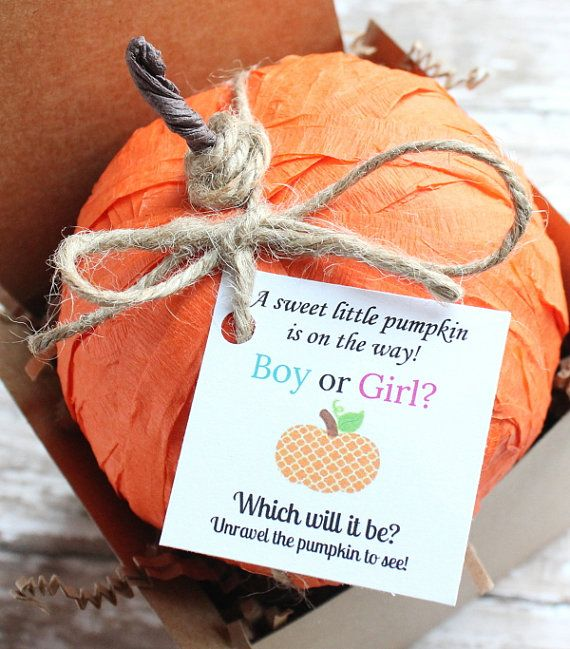 This pumpkin gender reveal surprise ball will bring smiles all around! A perfect way to announce the gender of your new arrival! As they unravel the ball, either pink or blue trinkets will fall out revealing whether a girl or boy is on the way!  YOU WILL RECEIVE *** ONE Pumpkin Gender Reveal Surprise Ball with tag shown *** 10+ miniature toys, trinkets, candy, gum and other novelty surprises *** Trinkets and Prizes will vary, picture only shows an example of what might be included…