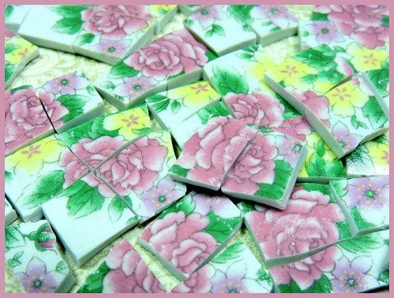 Cina Piastrelle mosaico - giardino delle RoSE - mano taglia piastrelle piatto