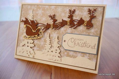 Weihnachtskarten-Weihnachten-Xmas-Christmas-Cards-Karten-Hirsche-Rehe-Kitz-Schlitten-Häuser-Santa-Tanne-Schnee-Schneeflocken-Tags-Schneemann-Winter-verschneit-creme-Tannenbäume-Santaschlitten