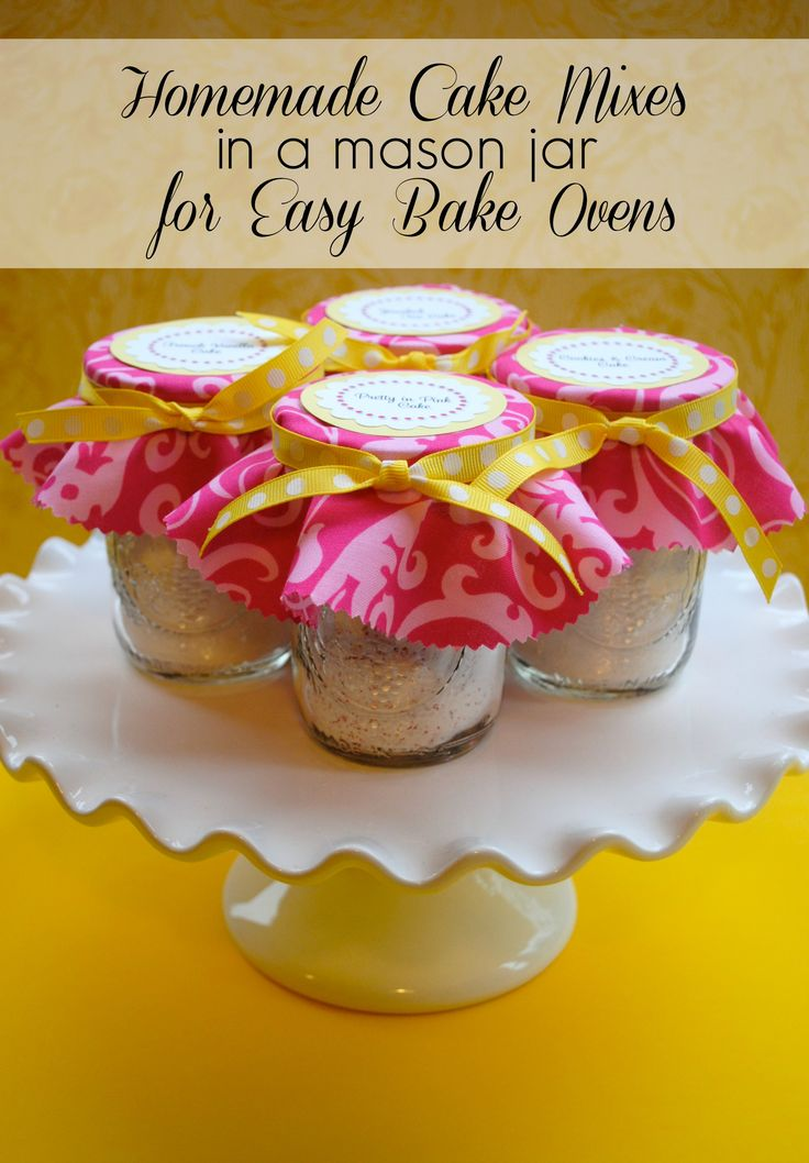 "Homemade mason jar cake mix for Easy Bake Ovens. Even if you child does not have an Easy Bake Oven , this would be a cute idea to make for your kids and they can bake their own ""mini"" cake along with you in the kitchen. Just bake the mini cake in a ramekin dish or small cake pan!"