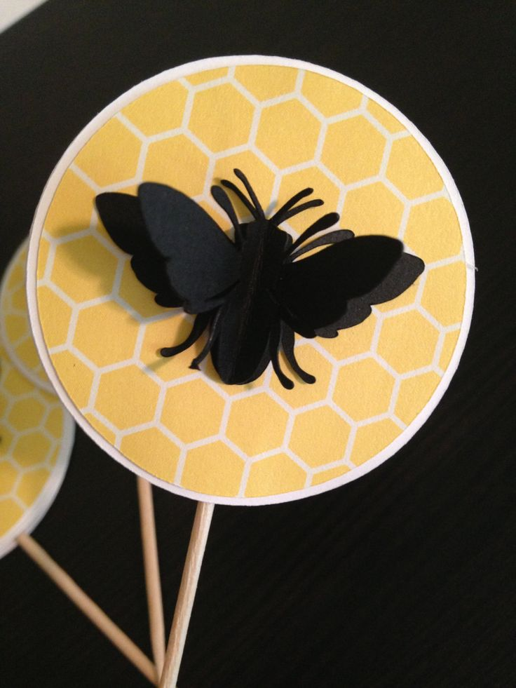 Bumble Bee Cupcake Toppers, Bee Cupcake Toppers by HillmanHandmade on Etsy https://www.etsy.com/listing/236664679/bumble-bee-cupcake-toppers-bee-cupcake
