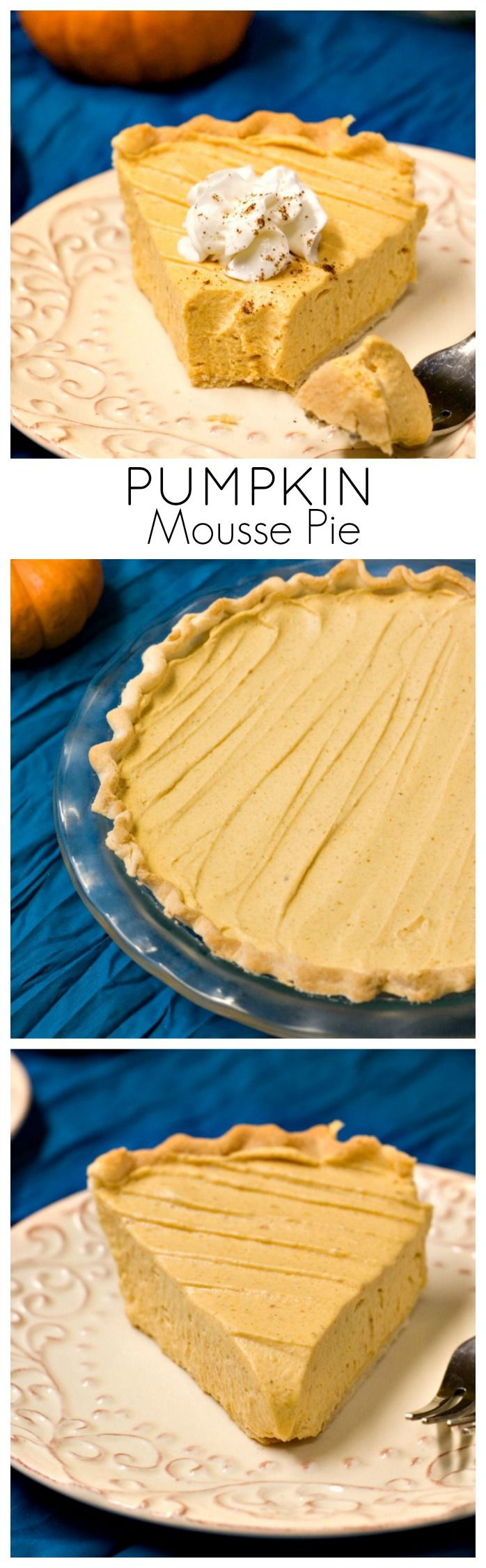 Pumpkin Mousse Pie - light and creamy no-bake pumpkin pie that's a perfect finish to a Thanksgiving dinner.