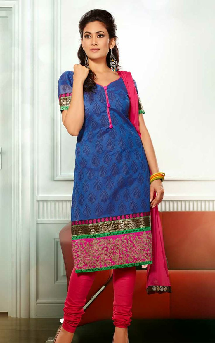 BLUE & PINK CHANDERI COTTON SALWAR KAMEEZ - RUD 33003C
