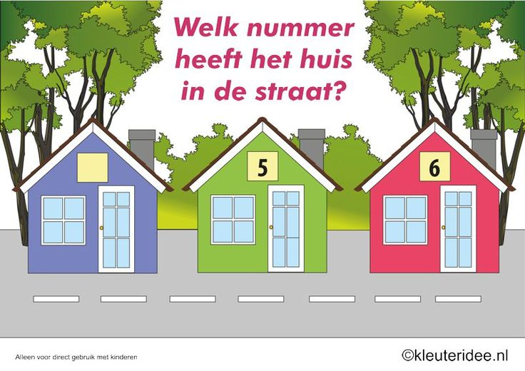 CITOvaardigheden voor kleuters, Welk nummer heeft het huisje in de straat, What number is the house in the street, free printable: