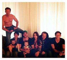 All 8 of actor Stellan Skarsgard's children his 7 sons and a daughter: Alexander, Sam holding Ossian, Gustaf holding Kolbjorn, Eija, Valter, and Bill.