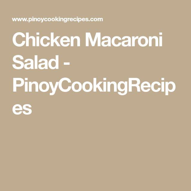 Chicken Macaroni Salad - PinoyCookingRecipes