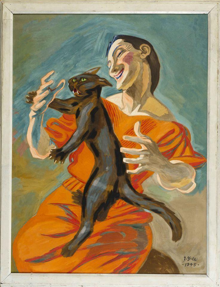 J. F. Willumsen: Woman Playing With Black Cat, 1945. Jens Ferdinand Willumsen (1863