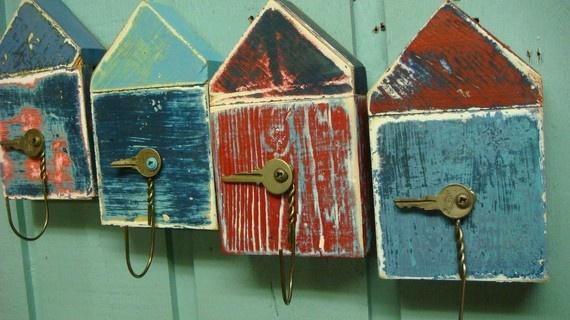 Boat House Beach Hut Key Holder Layered Paint Artwork So Cute