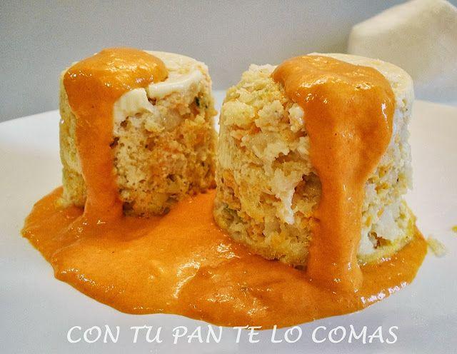 Con tu pan te lo comas: FLANES DE MERLUZA CON SALSA DE PIMIENTOS