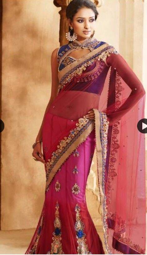 Hot pink sari with gold border