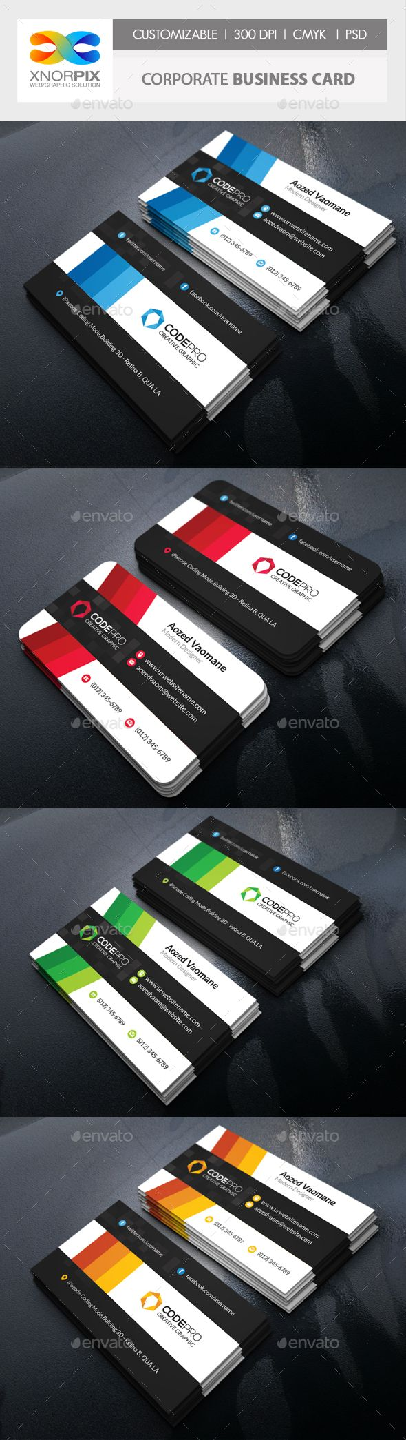 Corporate Business Card - #Corporate #Business #Cards Download here: https://graphicriver.net/item/corporate-business-card/19495030?ref=alena994
