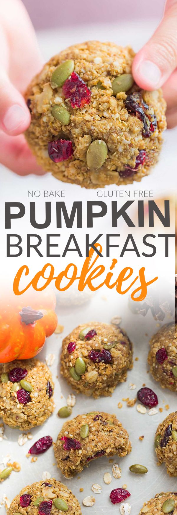 These Pumpkin Breakfast Cookies are the perfect easy breakfast for on the go. Best of all, this recipe is great if you feel like a no bake cookie when it's too hot to turn on the oven or you can bake them for 10 minutes for a warm treat. They're also loaded with pumpkin seeds, dried cranberries, cinnamon and pumpkin pie spice and totally scream fall. Plus they're gluten free, made with no butter and are super easy to customize with your favorite add-ins. #AD @SPLENDA #splendasweeties…