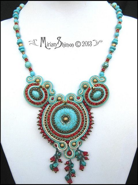 Turquoise and Red Soutache necklace   Flickr - Photo Sharing!