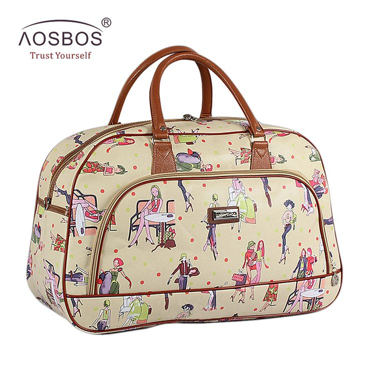 Aosbos Women Waterproof PU Leather Travel Duffle Bag Large Portable Print Female Tote Bag Fashion Casual Handbags for Ladies