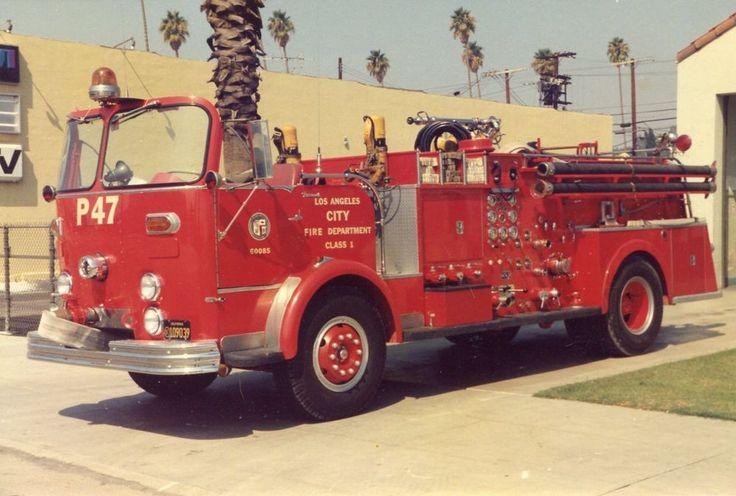 Los Angeles CA P-47 1961 Crown Firecoach Pumper  3x5 Fire Apparatus Photo