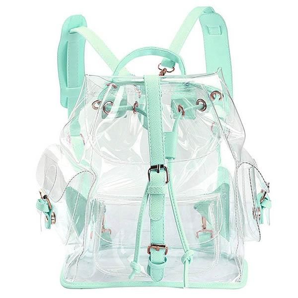 transparent green mint clear backpack boogzel apparel, aesthetic clothes, outfit, tumblr outfit, soft grunge, pale grunge