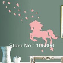 mode stickers muur decor thuis sticker kunst pvc vinyl decoratie gesneden swt384 110*150cm paard(China (Mainland))