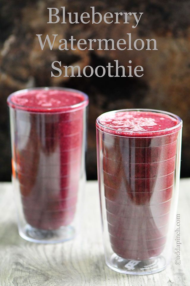 Blueberry Watermelon Smoothie Recipe - A light, healthy breakfast or snack! So full of vitamins and flavor! from addapinch.com