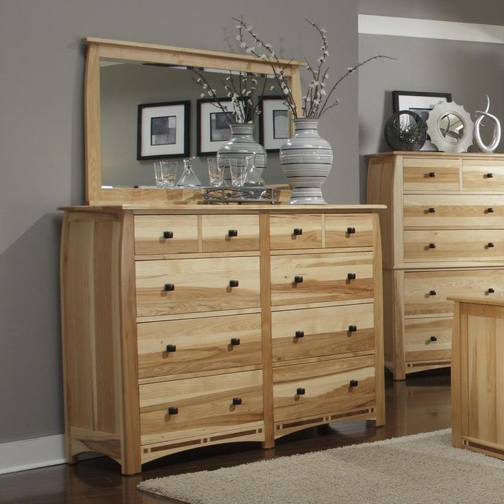 Adamstown Solid Hickory 8-Drawer Dresser with Framed ...