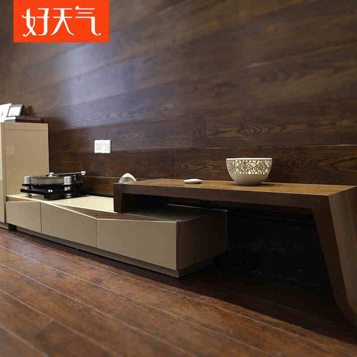好天气家具 简约伸缩电视柜组合 烤漆钢化玻璃电视机柜D142-tmall.com天猫
