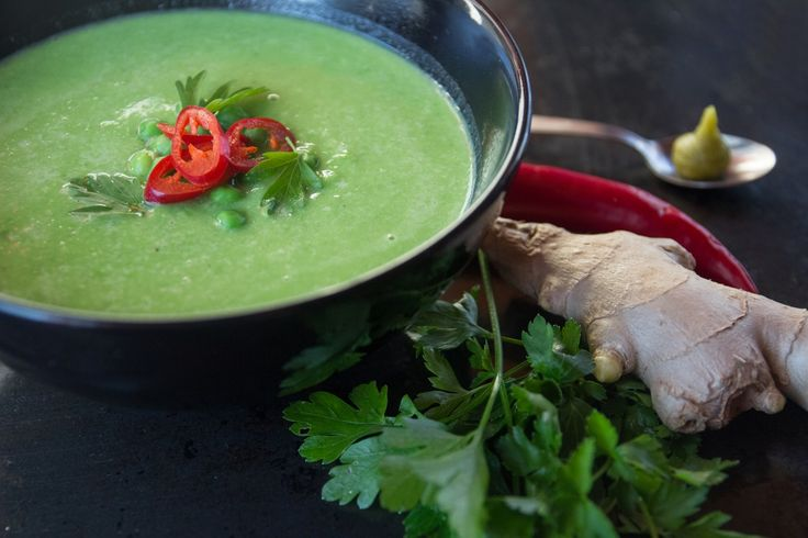 Spicy Pea Soup.Peas, ginger, wasabi and chillies is a great combination to warm yourself on cold autumn days. Done in under 5 minutes.