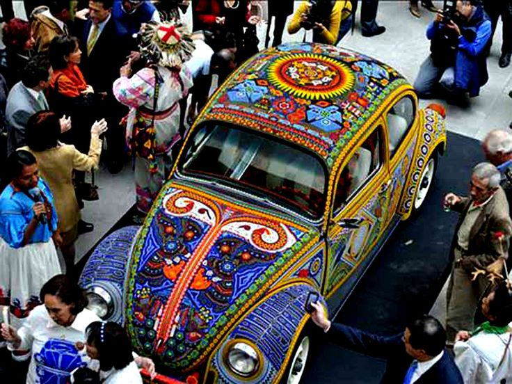 For this piece eight members of two Huichol families took the task to create a piece of art, seven months in the making, by using more than two million glass beads and a vintage Volkswagen as a canvas. Inspired by the designs of Francisco Bautista, a patriarch of one of the families, they incorporated their traditional indigenous theologies and cultural symbols with modern vernacular.