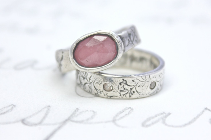 large pink sapphire engagement ring rose cut sapphire