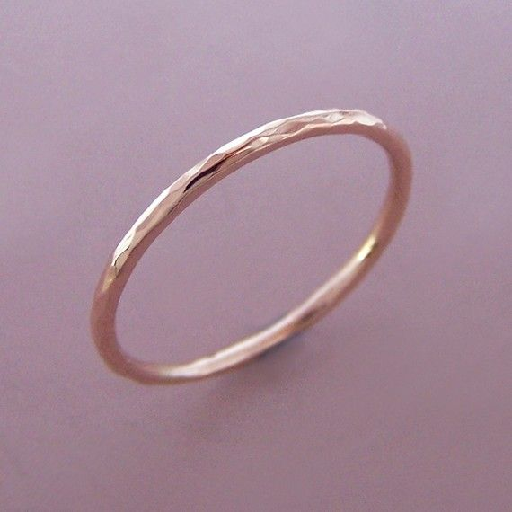 Recycled 14k Rose Gold Thin Hammered Round Band